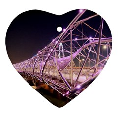 Helixbridge Bridge Lights Night Heart Ornament (2 Sides)