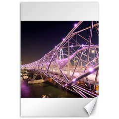 Helixbridge Bridge Lights Night Canvas 12  X 18