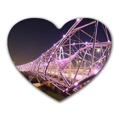 Helixbridge Bridge Lights Night Heart Mousepads