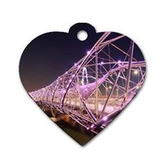 Helixbridge Bridge Lights Night Dog Tag Heart (two Sides)