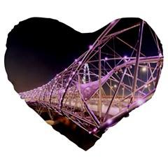 Helixbridge Bridge Lights Night Large 19  Premium Heart Shape Cushions