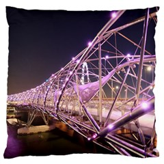 Helixbridge Bridge Lights Night Large Flano Cushion Case (two Sides)