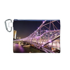 Helixbridge Bridge Lights Night Canvas Cosmetic Bag (m)