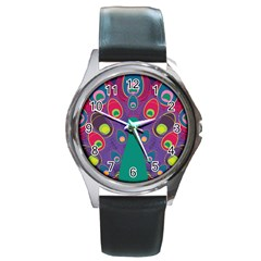 Peacock Bird Animal Feathers Round Metal Watch