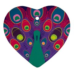 Peacock Bird Animal Feathers Ornament (heart)