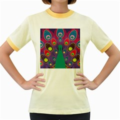Peacock Bird Animal Feathers Women s Fitted Ringer T Shirts