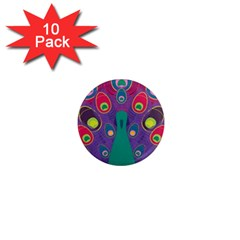 Peacock Bird Animal Feathers 1  Mini Magnet (10 Pack)