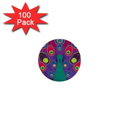Peacock Bird Animal Feathers 1  Mini Buttons (100 Pack)