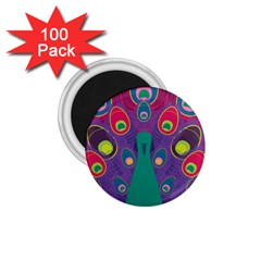 Peacock Bird Animal Feathers 1 75  Magnets (100 Pack)