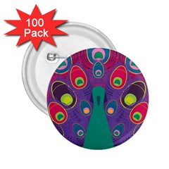 Peacock Bird Animal Feathers 2 25  Buttons (100 Pack)
