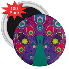 Peacock Bird Animal Feathers 3  Magnets (100 Pack)