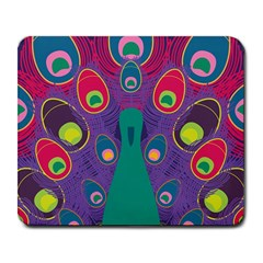 Peacock Bird Animal Feathers Large Mousepads