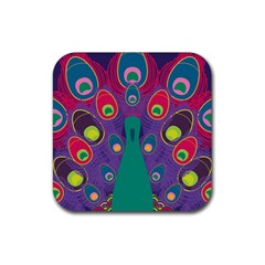 Peacock Bird Animal Feathers Rubber Coaster (square)