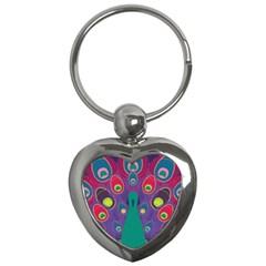 Peacock Bird Animal Feathers Key Chains (heart)