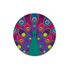 Peacock Bird Animal Feathers Rubber Round Coaster (4 Pack)