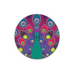 Peacock Bird Animal Feathers Magnet 3  (round)