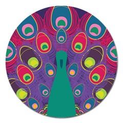 Peacock Bird Animal Feathers Magnet 5  (round)