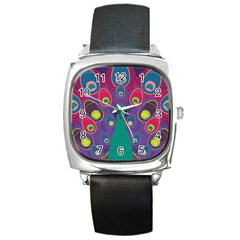 Peacock Bird Animal Feathers Square Metal Watch