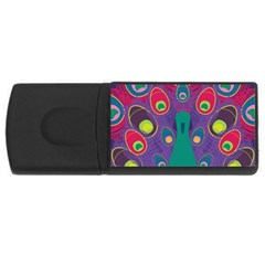 Peacock Bird Animal Feathers Usb Flash Drive Rectangular (4 Gb)