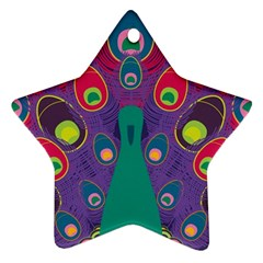 Peacock Bird Animal Feathers Star Ornament (two Sides)