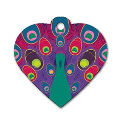 Peacock Bird Animal Feathers Dog Tag Heart (two Sides)