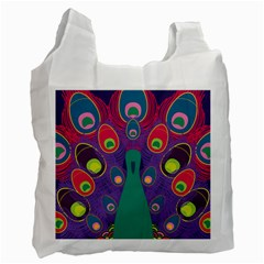 Peacock Bird Animal Feathers Recycle Bag (one Side)