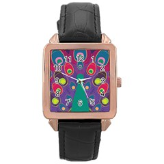 Peacock Bird Animal Feathers Rose Gold Leather Watch