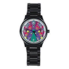 Peacock Bird Animal Feathers Stainless Steel Round Watch