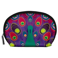 Peacock Bird Animal Feathers Accessory Pouches (large)