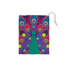 Peacock Bird Animal Feathers Drawstring Pouches (small)