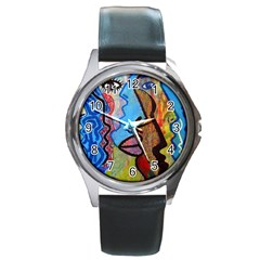 Graffiti Wall Color Artistic Round Metal Watch