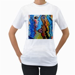 Graffiti Wall Color Artistic Women s T Shirt (white) (two Sided)