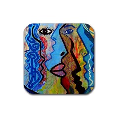 Graffiti Wall Color Artistic Rubber Square Coaster (4 Pack)