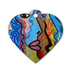Graffiti Wall Color Artistic Dog Tag Heart (one Side)