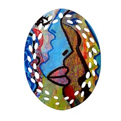 Graffiti Wall Color Artistic Oval Filigree Ornament (2 Side)