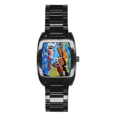 Graffiti Wall Color Artistic Stainless Steel Barrel Watch