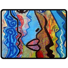 Graffiti Wall Color Artistic Double Sided Fleece Blanket (large)
