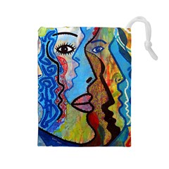 Graffiti Wall Color Artistic Drawstring Pouches (large)