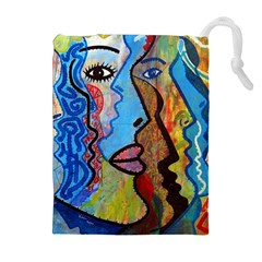 Graffiti Wall Color Artistic Drawstring Pouches (extra Large)
