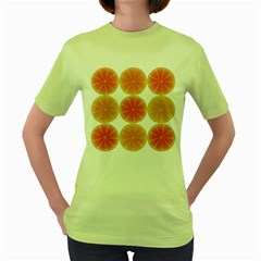 Orange Discs Orange Slices Fruit Women s Green T Shirt