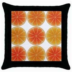 Orange Discs Orange Slices Fruit Throw Pillow Case (black)