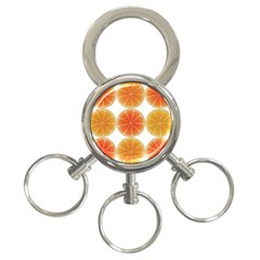 Orange Discs Orange Slices Fruit 3 Ring Key Chains
