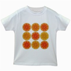 Orange Discs Orange Slices Fruit Kids White T Shirts