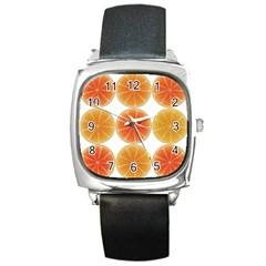 Orange Discs Orange Slices Fruit Square Metal Watch