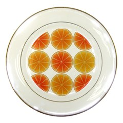 Orange Discs Orange Slices Fruit Porcelain Plates