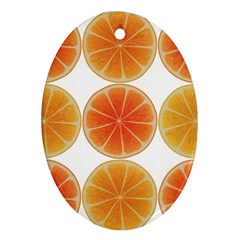 Orange Discs Orange Slices Fruit Oval Ornament (two Sides)