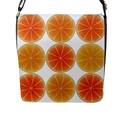 Orange Discs Orange Slices Fruit Flap Messenger Bag (l)