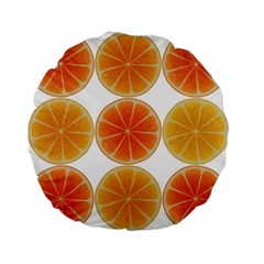 Orange Discs Orange Slices Fruit Standard 15  Premium Flano Round Cushions