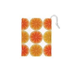 Orange Discs Orange Slices Fruit Drawstring Pouches (xs)