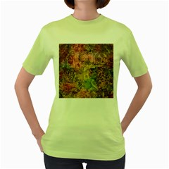 Texture Background Spring Colorful Women s Green T Shirt